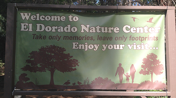 entryway sign at the el dorado nature center
