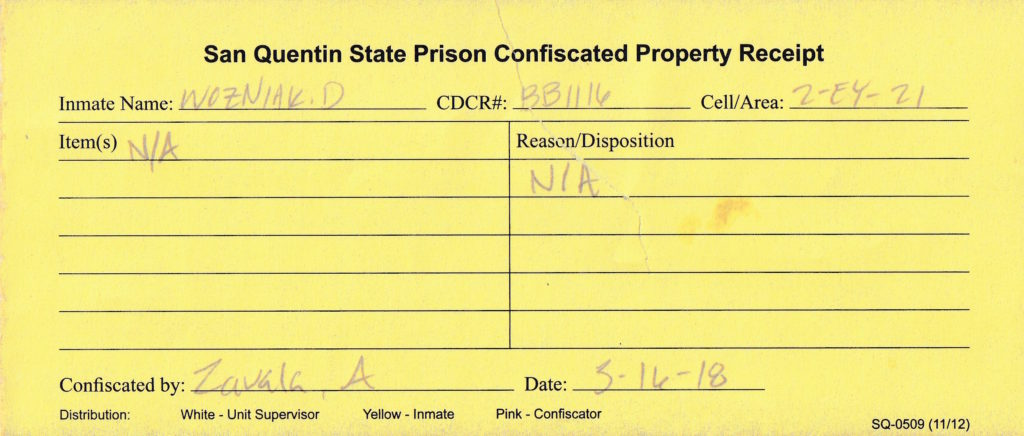 San Quentin State Prison Confiscated Property Receipt